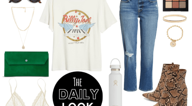 The Daily Look: Graphic Tee Shirt & Snake Skin Booties for a Casual LA Weekend.